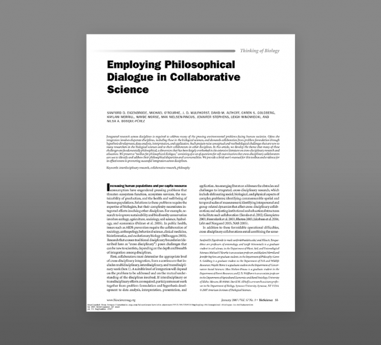Thumbnail image of article employing philosophical dialogue in collaborative science