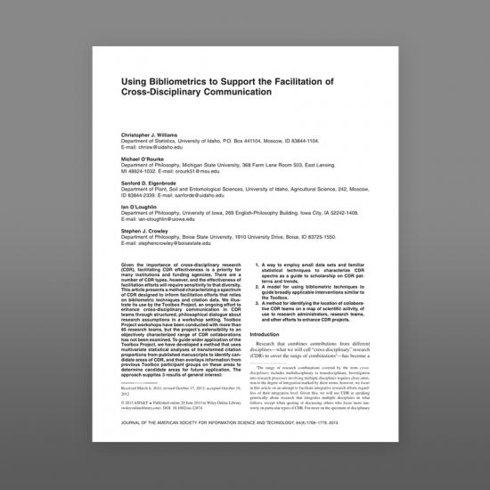 Thumbnail image of article: Using bibliometrics to support the facilitation of cross-disciplinary communication