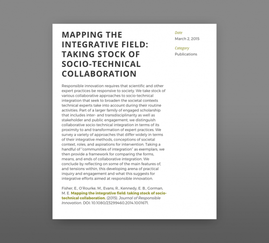 Thumbnail image of article abstract: Mapping the integrative field taking stock of socio technical collaborations