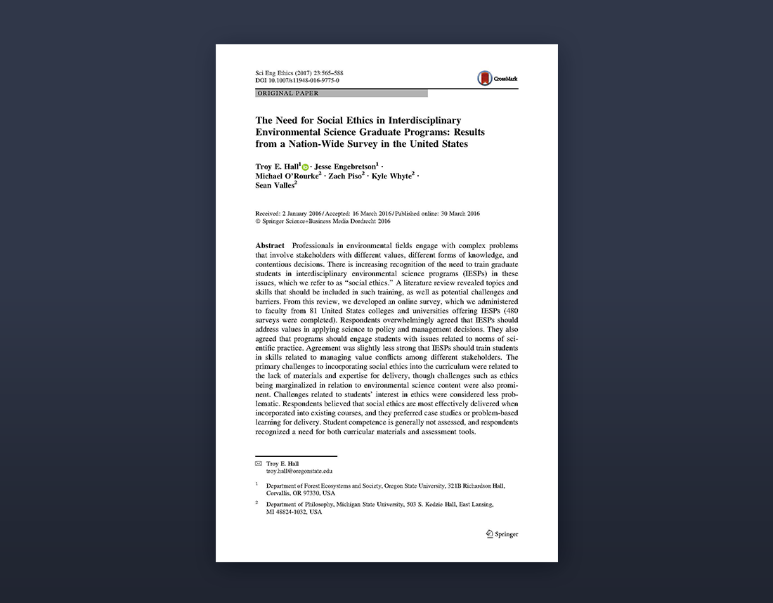 The need for social ethics in interdisciplinary environmental science graduate programs: Results from a nation-wide survey in the United States