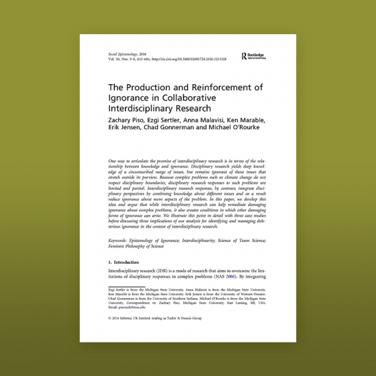 Thumbnail image of article The production and reinforcement of ignorance in collaborative interdisciplinary research
