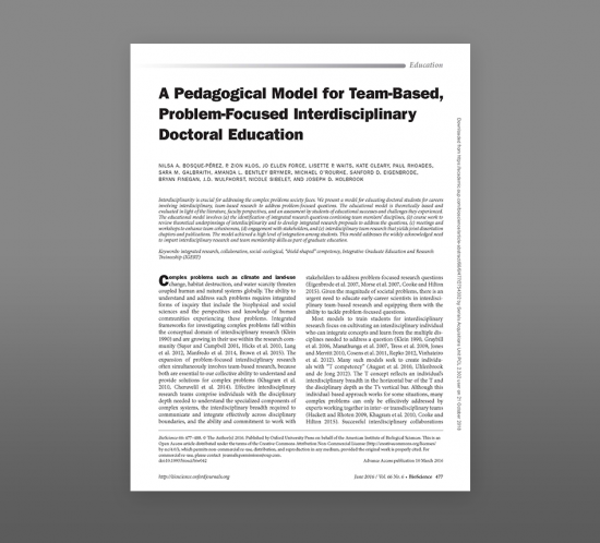 photo of A Pedagogical Model For Team-Based, Problem-Focused Interdisciplinary Doctoral Education