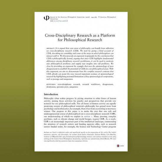 photo of article: Cross-Disciplinary Research as a Platform for Philosophical Research