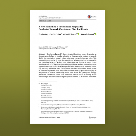 Photo of article cover: A virtue-based responsible conduct of research curriculum
