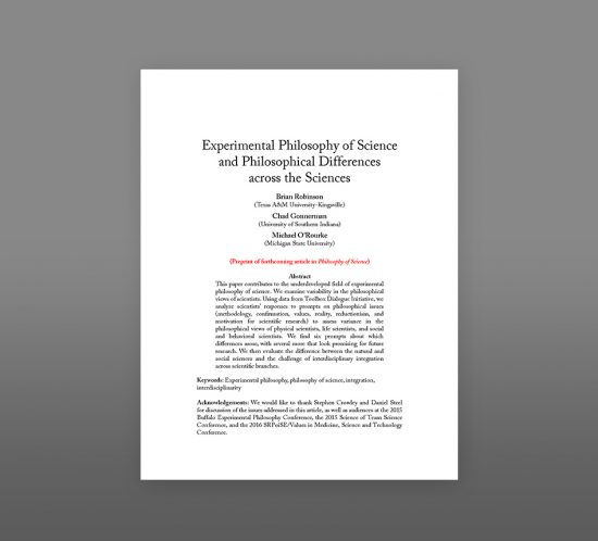 cover of experimental philosophy-of-science-and-philosophical-differences across the sciences