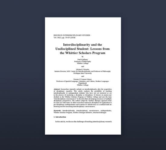 cover of Interdisplinarity and the Undisciplined Student