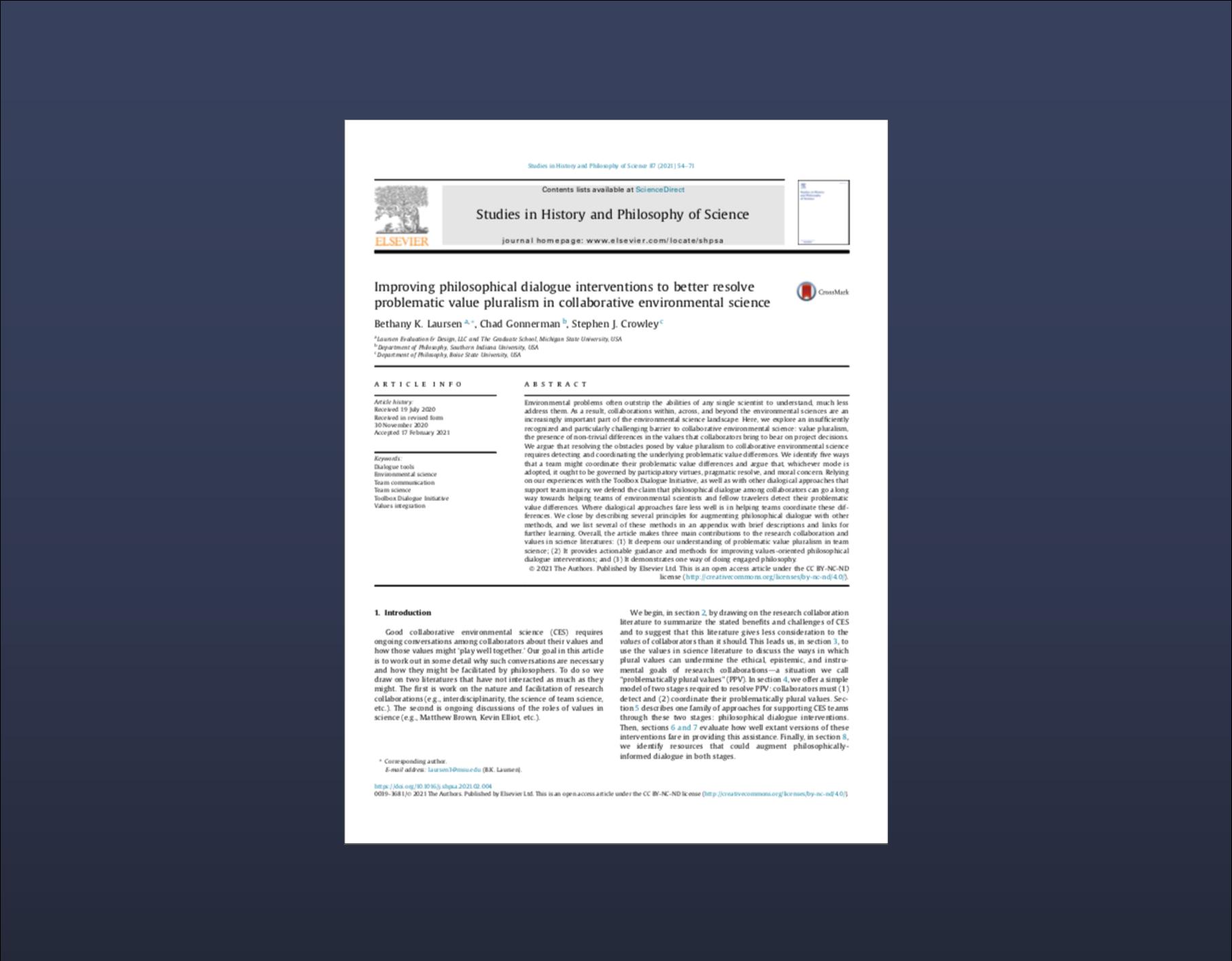Cover page for Laursen et al 2021